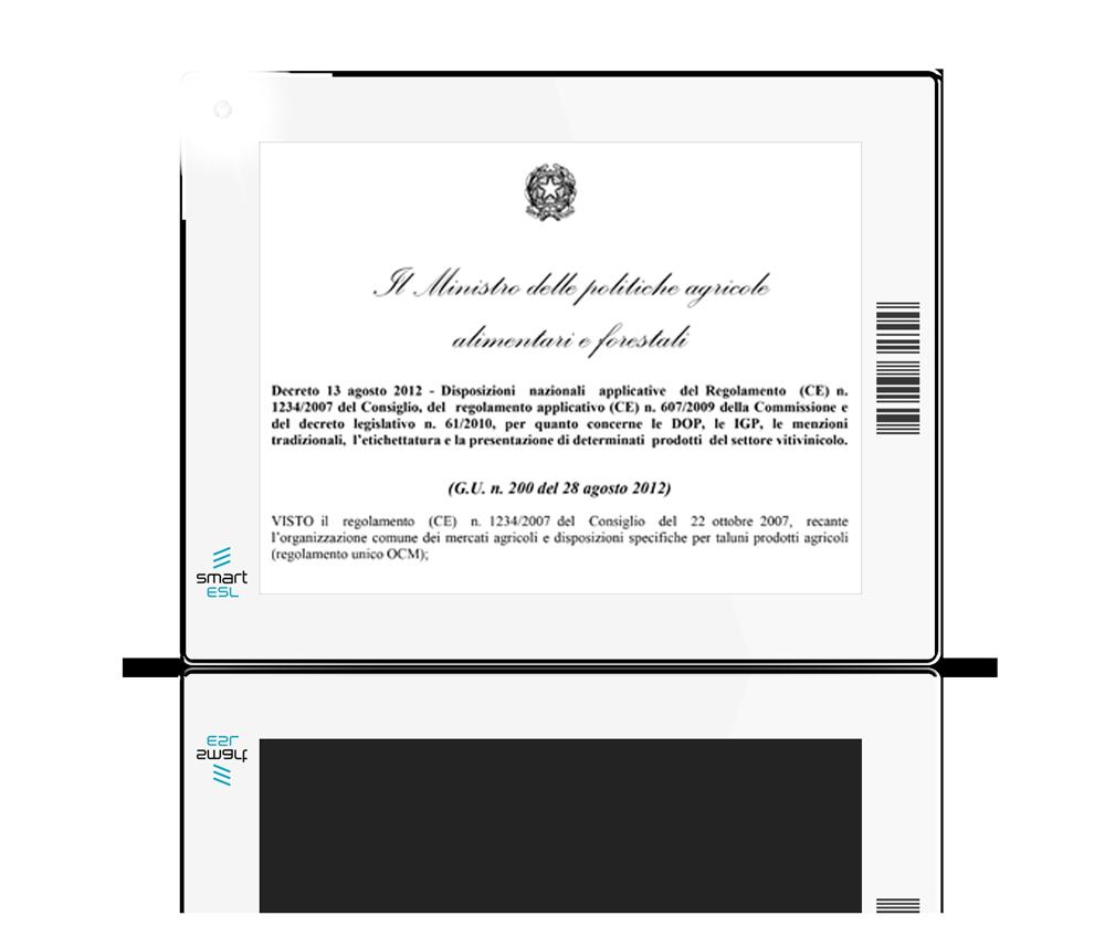Wine ESL System assolve gli obblighi del D.M. 13/8/12, art. 17