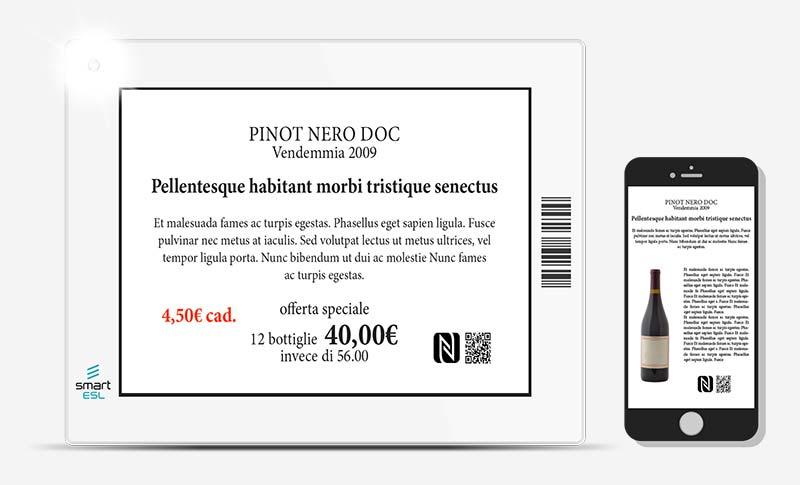 Tag NFC ed ai QR Code offrono ai clienti contenuti informativi aggiuntivi sulle bottiglie di vino