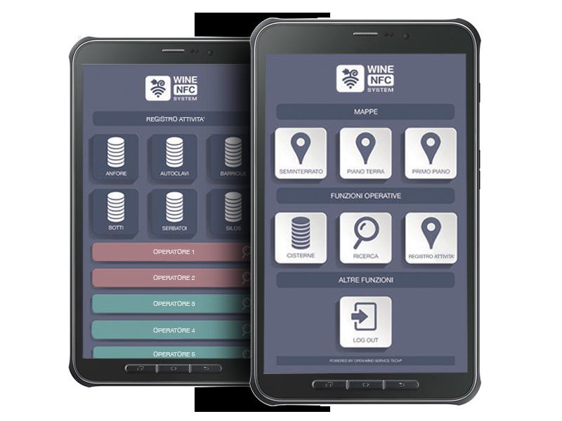 Wine NFC System interfaccia parte privata personalizzabile in base alle eseigenze del cliente