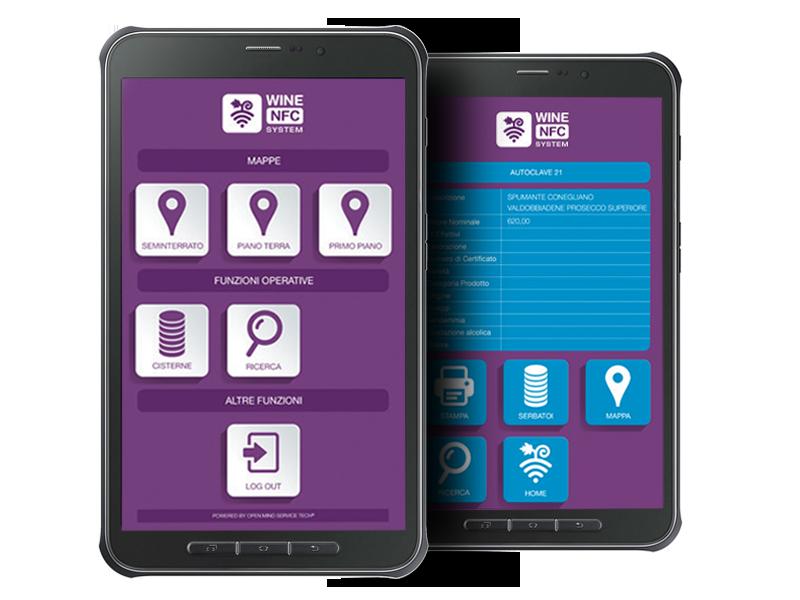 Wine NFC System interfaccia parte pubblica: consente la verifica anche agli enti di controllo del contenuto dei serbatoi in cantina